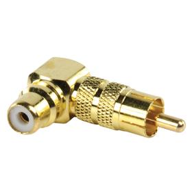Haakse gold plated tulpstekker naar tulpsocket