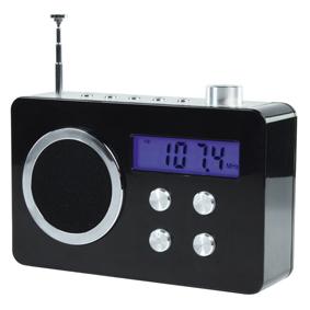 Compacte draagbare FM-radio met ingang voor MP3-speler en telefoon