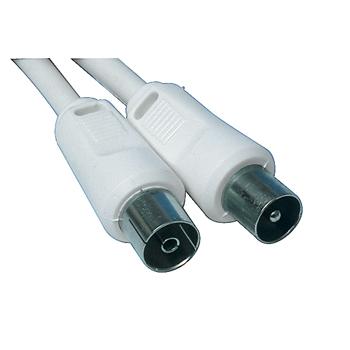 Coax kabel met rechte pluggen 10m wit