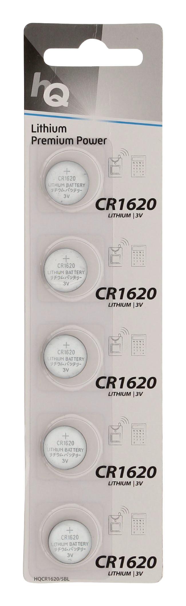 Lithium knoopcel CR1620-batterij 3 V, blister 5 stuks