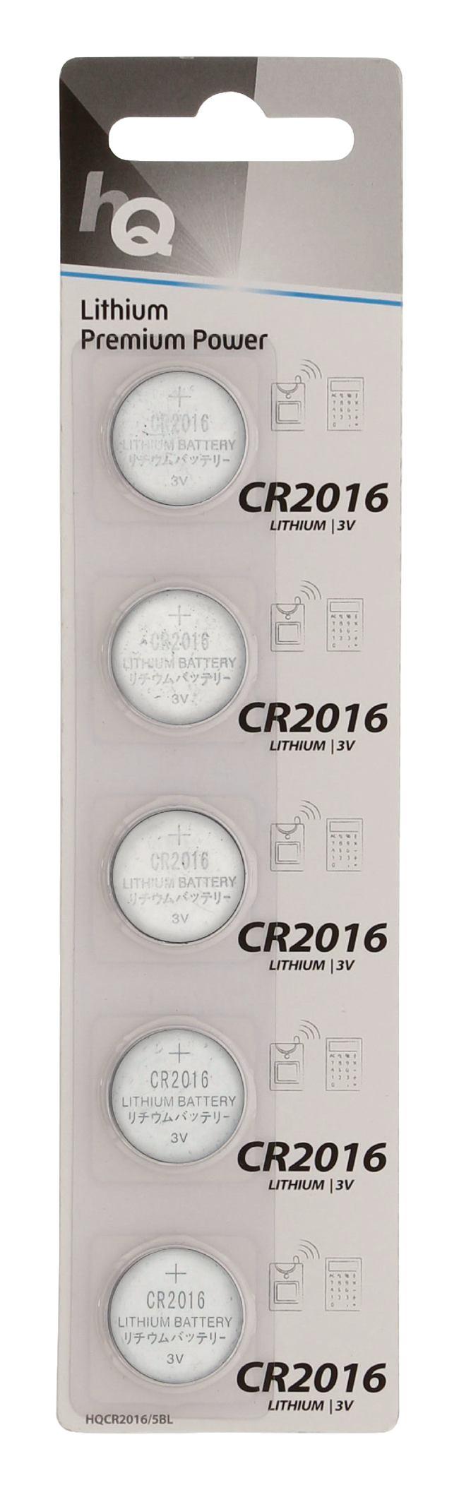 Lithium knoopcel CR2016-batterij 3 V, blister 5 stuks