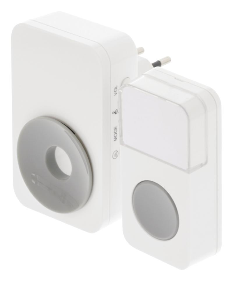 Witte draadloze deurbel met 36 melodieën, 150m bereik en 85dB geluidssterkte en lichtsignalen