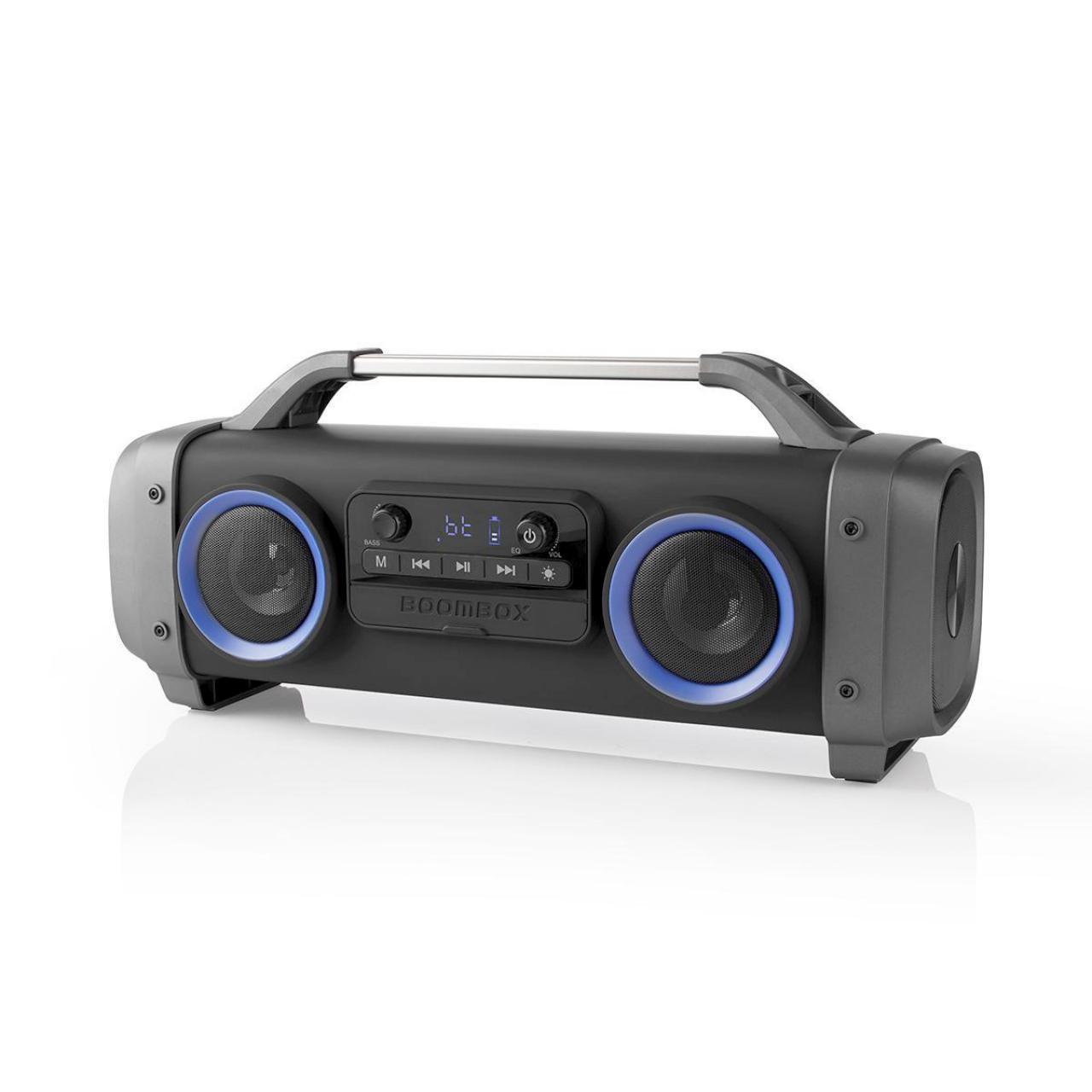 Oplaadbare boombox ghettoblaster met Bluetooth, verlichting, FM Radio, USB en MicroSD