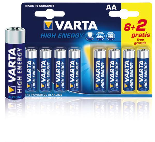 AA Batterijen Varta High Energy, 6+2 stuks in blister