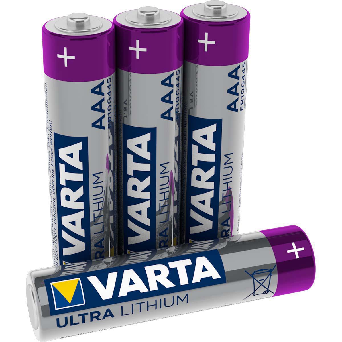 AAA lithium batterijen 4 stuks 1.5V