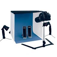 Fotostudio XL compleet met blue screen, statief en lampen. Met 4 achtergrondkleuren.