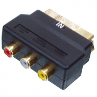 Scart plug naar 3x Tulp (in) gold plated