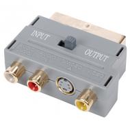 Scart adapter naar 3xRCA en SVHS zilverkleurig