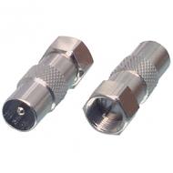 F-connector naar coax (IEC) male adapter