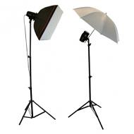 Complete fotostudio met softboxen, paraplu, statieven en lampen