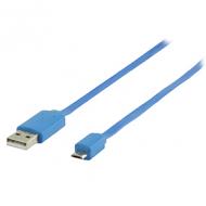 Micro USB kabel plat (blauw 1m) voor o.a. smartphones