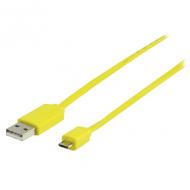 Micro USB kabel plat (geel 1m) voor o.a. smartphones