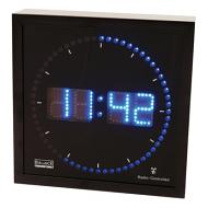 Digitale klok met blauwe LEDs en ronde seconde-aanduiding