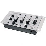 Dj mixer compact met 3 kanalen + 2 microfoonkanalen